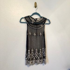 Black and Cream Embroidered Sleeveless Top